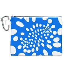 Circles Polka Dot Blue White Canvas Cosmetic Bag (XL)
