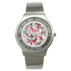 Confetti Hearts Digital Love Heart Background Pattern Stainless Steel Watch by Nexatart