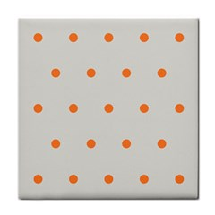 Diamond Polka Dot Grey Orange Circle Spot Tile Coasters by Mariart