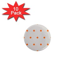 Diamond Polka Dot Grey Orange Circle Spot 1  Mini Magnet (10 Pack)  by Mariart