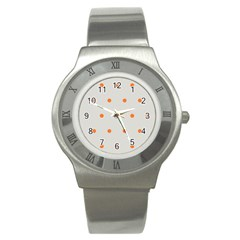 Diamond Polka Dot Grey Orange Circle Spot Stainless Steel Watch by Mariart