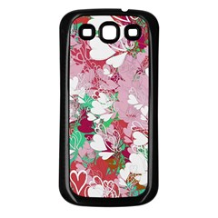 Confetti Hearts Digital Love Heart Background Pattern Samsung Galaxy S3 Back Case (black)