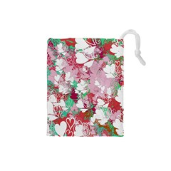 Confetti Hearts Digital Love Heart Background Pattern Drawstring Pouches (small)