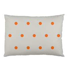 Diamond Polka Dot Grey Orange Circle Spot Pillow Case (two Sides) by Mariart
