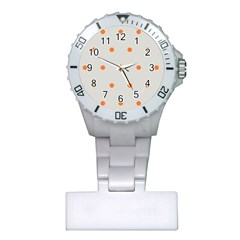 Diamond Polka Dot Grey Orange Circle Spot Plastic Nurses Watch by Mariart