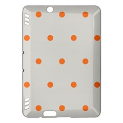 Diamond Polka Dot Grey Orange Circle Spot Kindle Fire Hdx Hardshell Case by Mariart
