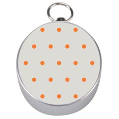 Diamond Polka Dot Grey Orange Circle Spot Silver Compasses by Mariart