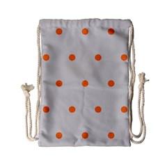 Diamond Polka Dot Grey Orange Circle Spot Drawstring Bag (small)