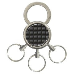 Black Cell Leather Retro Car Seat Textures 3 Ring Key Chains
