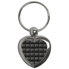 Black Cell Leather Retro Car Seat Textures Key Chains (heart)  by Nexatart