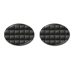 Black Cell Leather Retro Car Seat Textures Cufflinks (oval) by Nexatart
