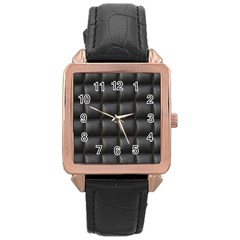 Black Cell Leather Retro Car Seat Textures Rose Gold Leather Watch