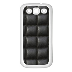 Black Cell Leather Retro Car Seat Textures Samsung Galaxy S3 Back Case (white) by Nexatart