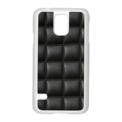Black Cell Leather Retro Car Seat Textures Samsung Galaxy S5 Case (white)