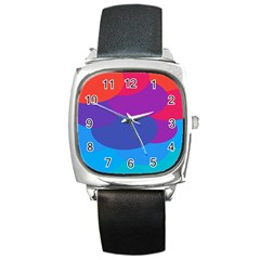 Circles Colorful Balloon Circle Purple Blue Red Orange Square Metal Watch by Mariart
