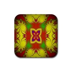 Digital Color Ornament Rubber Square Coaster (4 Pack)