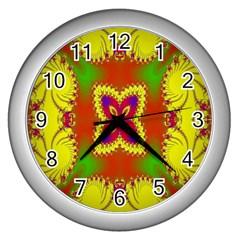 Digital Color Ornament Wall Clocks (silver)