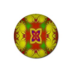 Digital Color Ornament Rubber Round Coaster (4 Pack)