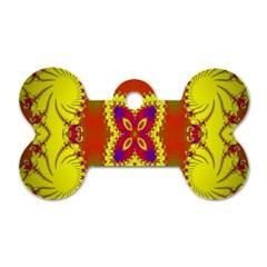 Digital Color Ornament Dog Tag Bone (two Sides)