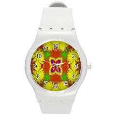 Digital Color Ornament Round Plastic Sport Watch (m) by Nexatart