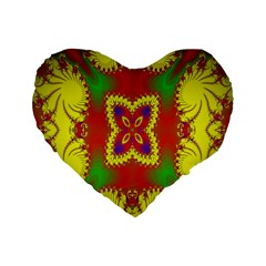 Digital Color Ornament Standard 16  Premium Flano Heart Shape Cushions by Nexatart