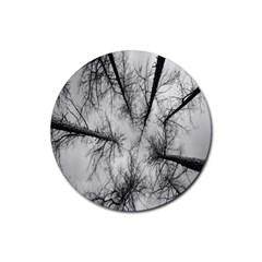 Trees Without Leaves Rubber Coaster (round)  by Nexatart