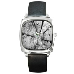 Trees Without Leaves Square Metal Watch