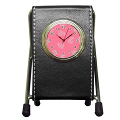 Branch Berries Seamless Red Grey Pink Pen Holder Desk Clocks by Mariart