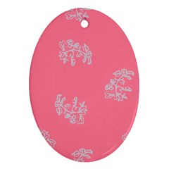 Branch Berries Seamless Red Grey Pink Oval Ornament (two Sides) by Mariart