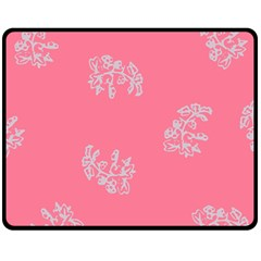 Branch Berries Seamless Red Grey Pink Fleece Blanket (medium)  by Mariart