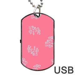 Branch Berries Seamless Red Grey Pink Dog Tag Usb Flash (two Sides) by Mariart