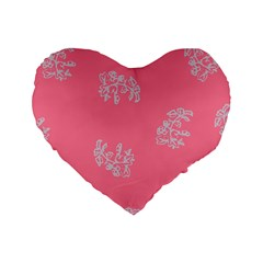 Branch Berries Seamless Red Grey Pink Standard 16  Premium Flano Heart Shape Cushions by Mariart