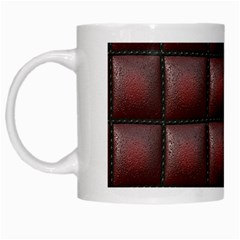 Red Cell Leather Retro Car Seat Textures White Mugs by Nexatart