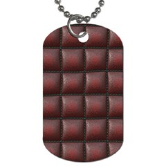 Red Cell Leather Retro Car Seat Textures Dog Tag (two Sides) by Nexatart