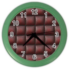 Red Cell Leather Retro Car Seat Textures Color Wall Clocks by Nexatart