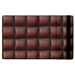 Red Cell Leather Retro Car Seat Textures Apple Ipad 3/4 Flip Case by Nexatart