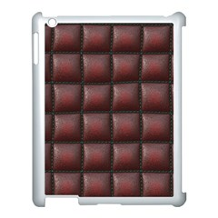 Red Cell Leather Retro Car Seat Textures Apple Ipad 3/4 Case (white) by Nexatart
