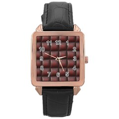 Red Cell Leather Retro Car Seat Textures Rose Gold Leather Watch