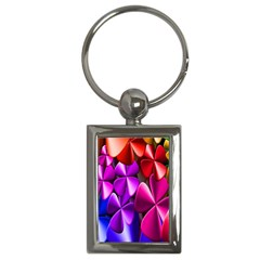 Colorful Flower Floral Rainbow Key Chains (rectangle)  by Mariart