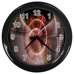 Fractal Fabric Ball Isolated On Black Background Wall Clocks (black) by Nexatart
