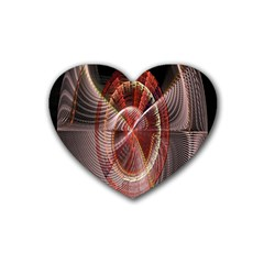Fractal Fabric Ball Isolated On Black Background Heart Coaster (4 Pack)