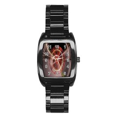 Fractal Fabric Ball Isolated On Black Background Stainless Steel Barrel Watch