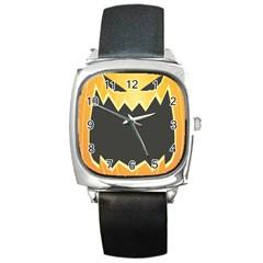 Halloween Pumpkin Orange Mask Face Sinister Eye Black Square Metal Watch by Mariart