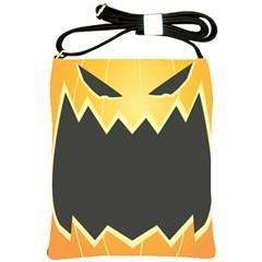 Halloween Pumpkin Orange Mask Face Sinister Eye Black Shoulder Sling Bags by Mariart