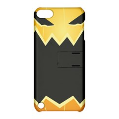 Halloween Pumpkin Orange Mask Face Sinister Eye Black Apple Ipod Touch 5 Hardshell Case With Stand by Mariart