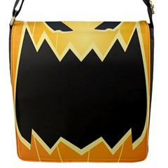 Halloween Pumpkin Orange Mask Face Sinister Eye Black Flap Messenger Bag (s) by Mariart