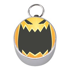 Halloween Pumpkin Orange Mask Face Sinister Eye Black Mini Silver Compasses by Mariart