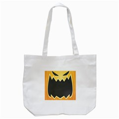 Halloween Pumpkin Orange Mask Face Sinister Eye Black Tote Bag (white) by Mariart