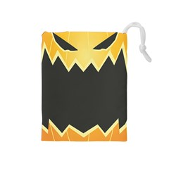 Halloween Pumpkin Orange Mask Face Sinister Eye Black Drawstring Pouches (medium)  by Mariart