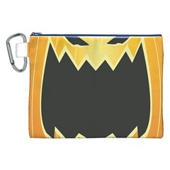 Halloween Pumpkin Orange Mask Face Sinister Eye Black Canvas Cosmetic Bag (xxl) by Mariart
